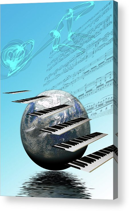 Music Acrylic Print featuring the digital art Conceptual Music World by Angel Jesus De la Fuente