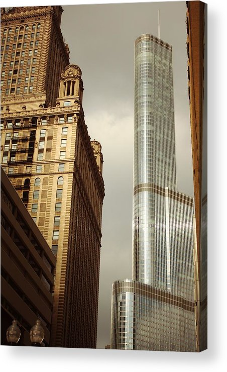 Chicago Acrylic Print featuring the pyrography Cool Metal by Xiaoting Kuang