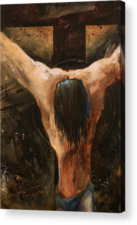 Crucifix Acrylic Print featuring the painting Cross by Michael Lang