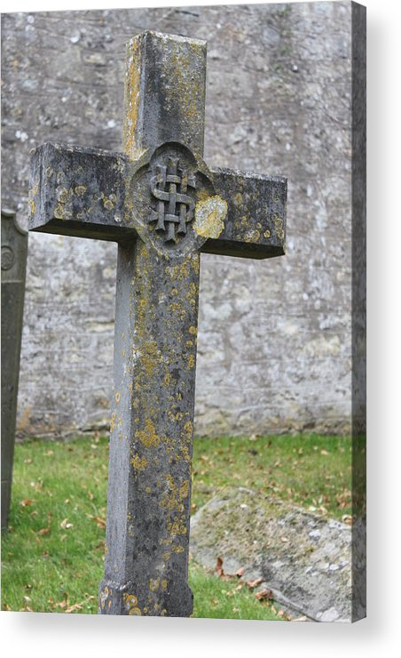 Cross Acrylic Print featuring the photograph Cross Tombstone St. Mary's Wedmore by Lauri Novak