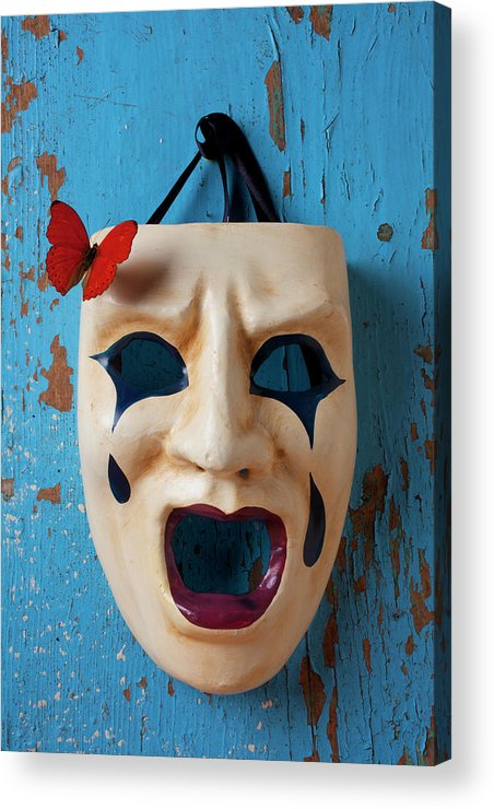 Crying Acrylic Print featuring the photograph Crying Mask And Red Butterfly by Garry Gay