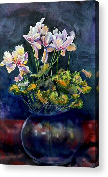 Cyclamen Acrylic Print featuring the painting Cyclamen In A Vase by Gertrude Palmer