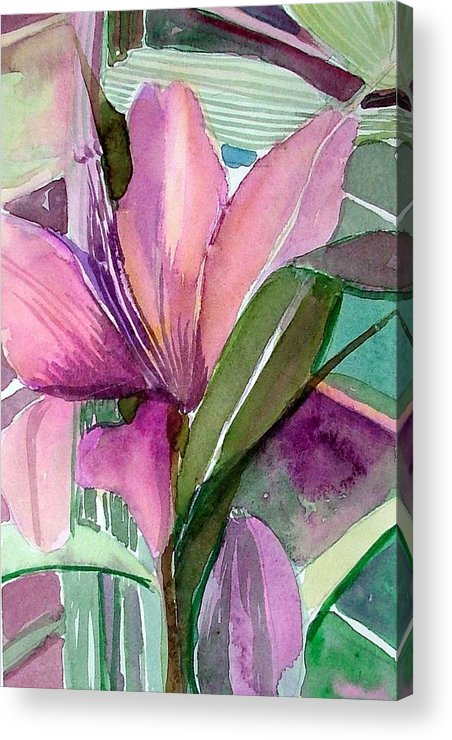 Flower Acrylic Print featuring the painting Day Lily Pink by Mindy Newman