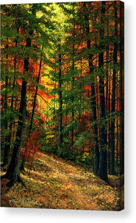 Landscape Acrylic Print featuring the painting Deep In The Forest by Frank Wilson