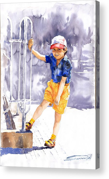 Watercolor Watercolour Figurativ Portret Acrylic Print featuring the painting Denis 02 by Yuriy Shevchuk