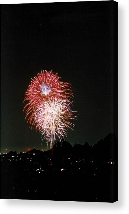 Fireworks Acrylic Print featuring the photograph Desert Fireworks by Cathy Franklin