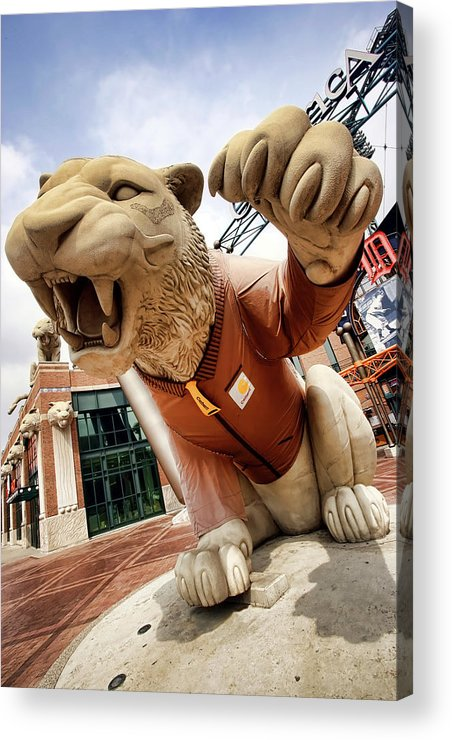 Detroit Acrylic Print featuring the photograph Detroit Tigers Tiger Statue Outside Of Comerica Park Detroit Michigan by Gordon Dean II