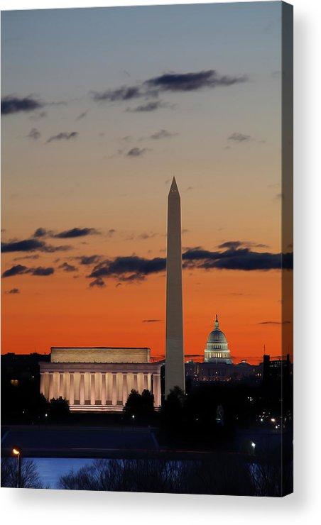 Metro Acrylic Print featuring the digital art Digital Liquid - Monuments At Sunrise by Metro DC Photography