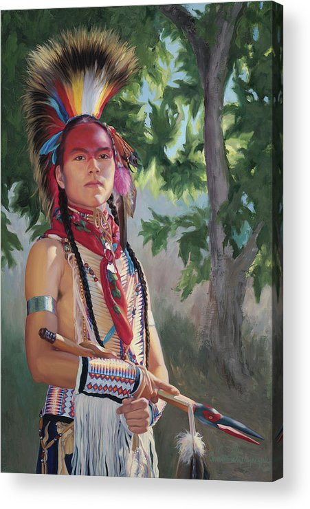 Native American Acrylic Print featuring the painting Distant Song by Christine Lytwynczuk
