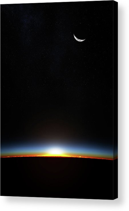 Planet Acrylic Print featuring the photograph Earth Sunrise Through Atmoshere by Johan Swanepoel