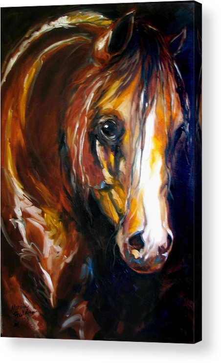 Horse Acrylic Print featuring the painting Ebony Night Equine by Marcia Baldwin