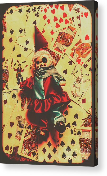 Evil Clown Doll On Playing Cards Acrylic Print by Jorgo Photography ...