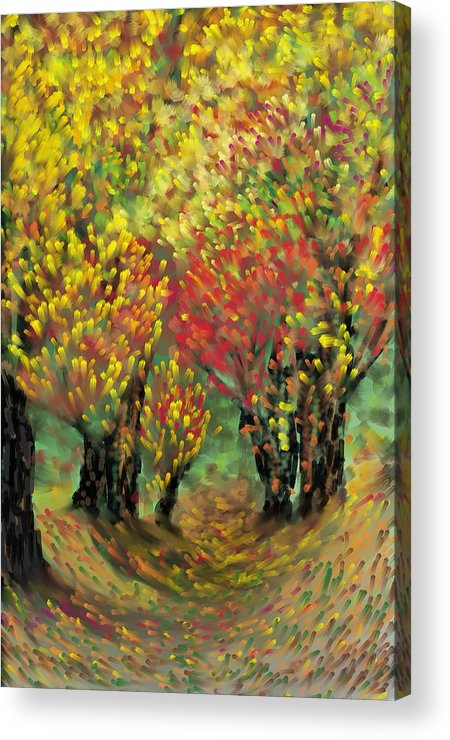 Landscape Acrylic Print featuring the painting Fall Impression by Harry Dusenberg