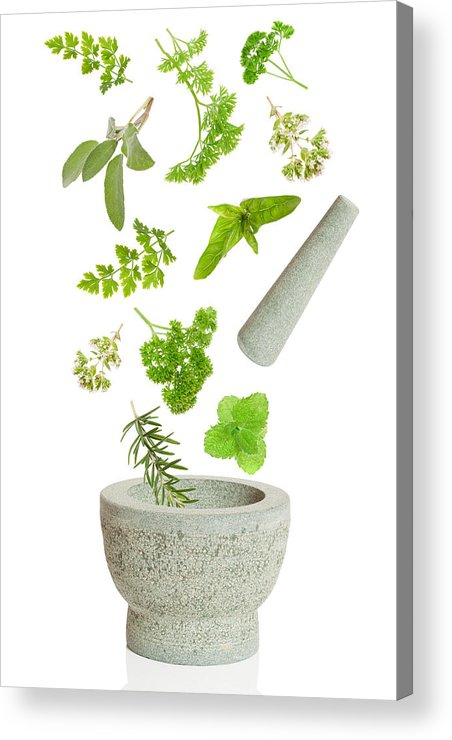 Pestle Acrylic Print featuring the photograph Falling Herbs by Amanda Elwell