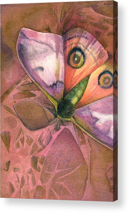 Insect Acrylic Print featuring the painting Fantasmoth 1 by Mindy Lighthipe