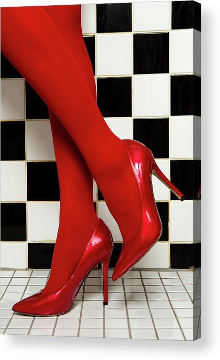 Background Acrylic Print featuring the photograph Female Legs In Red Pantyhose And Shoes On High Heels On A Background by Elena Saulich