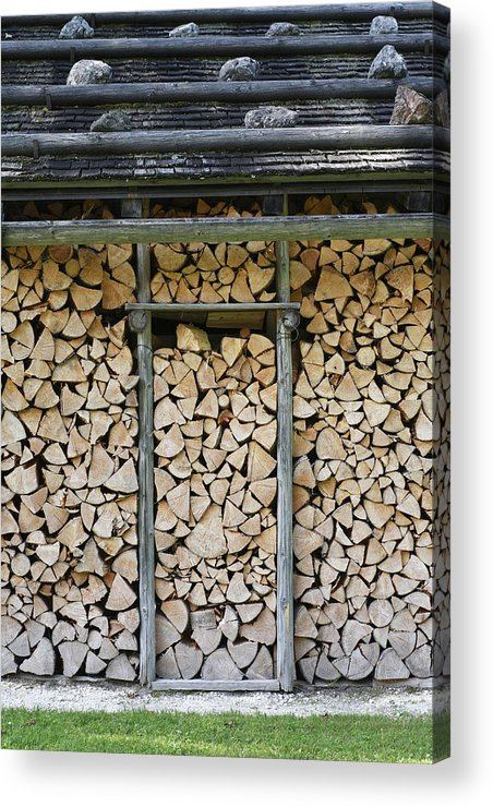 Firewood Acrylic Print featuring the photograph Firewood Stack by Frank Tschakert