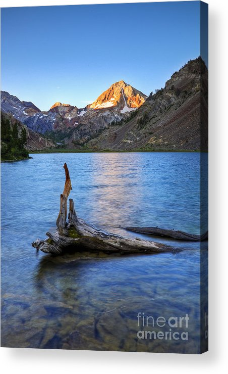 California Acrylic Print featuring the photograph First Light On Red Slate Mountian by Greg Clure