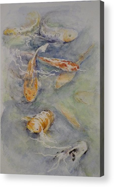 Fish Acrylic Print featuring the painting Fish Pond by Lizzy Forrester