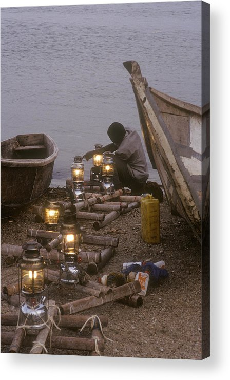Uganda Acrylic Print featuring the photograph Fisherman Prepares Lanterns For Night by Michael S. Lewis
