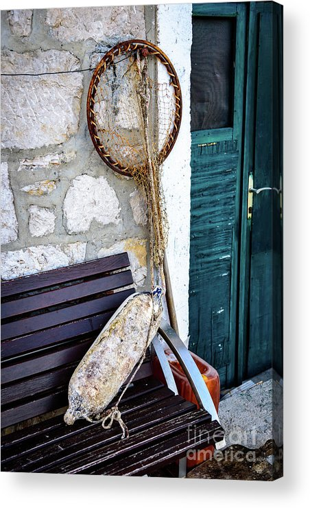 Primosten Acrylic Print featuring the photograph Fishing Gear In Primosten, Croatia by Global Light Photography - Nicole Leffer