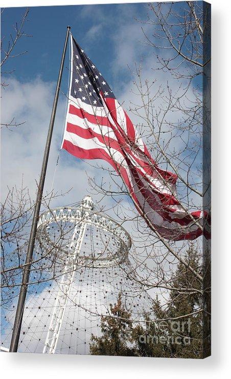 American Flag Acrylic Print featuring the photograph Flag Over Spokane Pavilion by Carol Groenen
