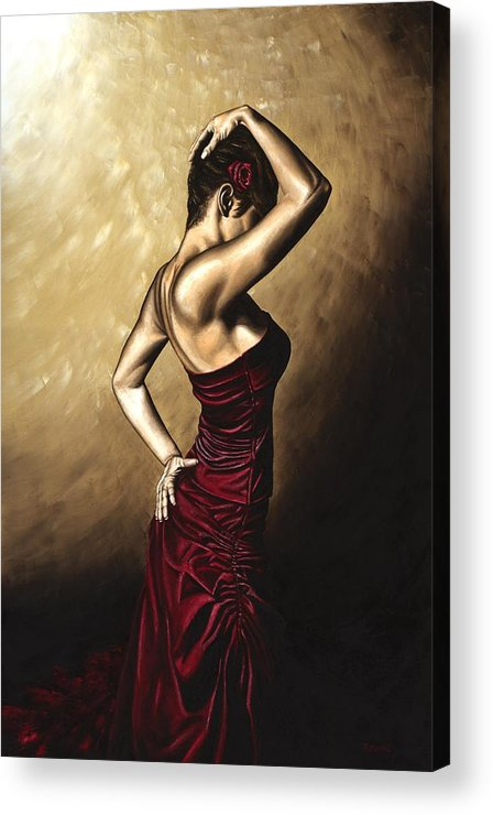 Flamenco Acrylic Print featuring the painting Flamenco Woman by Richard Young