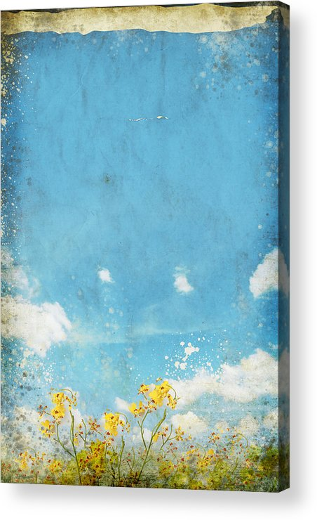 Abstract Acrylic Print featuring the painting Floral In Blue Sky And Cloud by Setsiri Silapasuwanchai