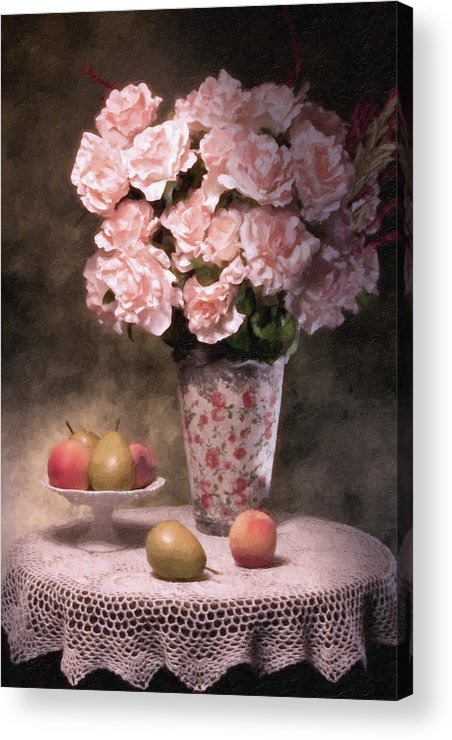 Flowers Acrylic Print featuring the photograph Flowers With Fruit Still Life by Tom Mc Nemar