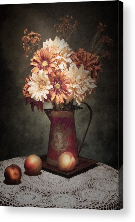 Flowers Acrylic Print featuring the photograph Flowers With Peaches Still Life by Tom Mc Nemar