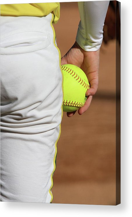 Softball Acrylic Print featuring the photograph Four Seam by Laddie Halupa