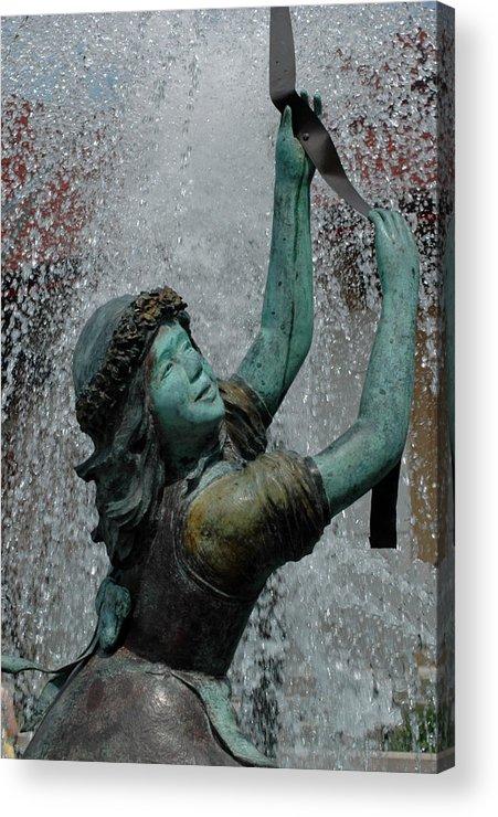 Usa Acrylic Print featuring the photograph Frankenmuth Fountain Girl by LeeAnn McLaneGoetz McLaneGoetzStudioLLCcom