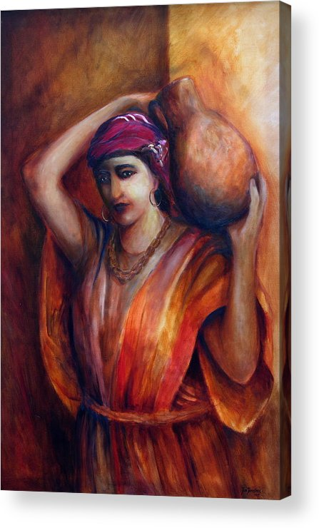 Rebekah Acrylic Print featuring the painting From The Well by Jun Jamosmos