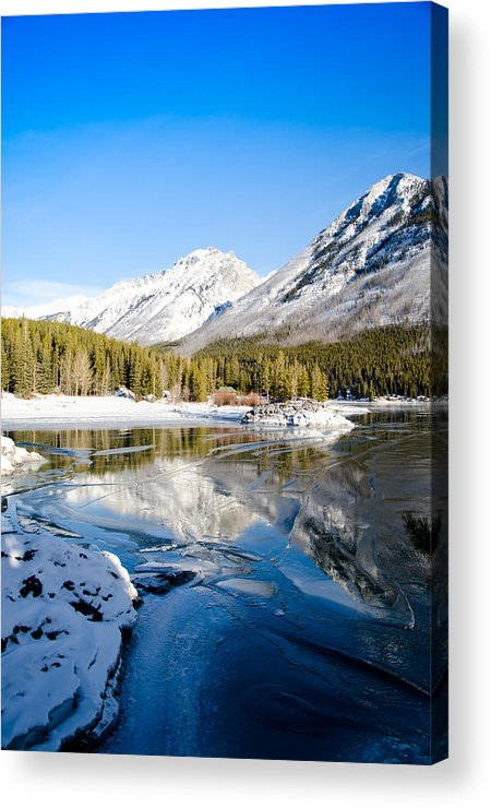 Lake Acrylic Print featuring the painting Frozen In Time by Manu Singh