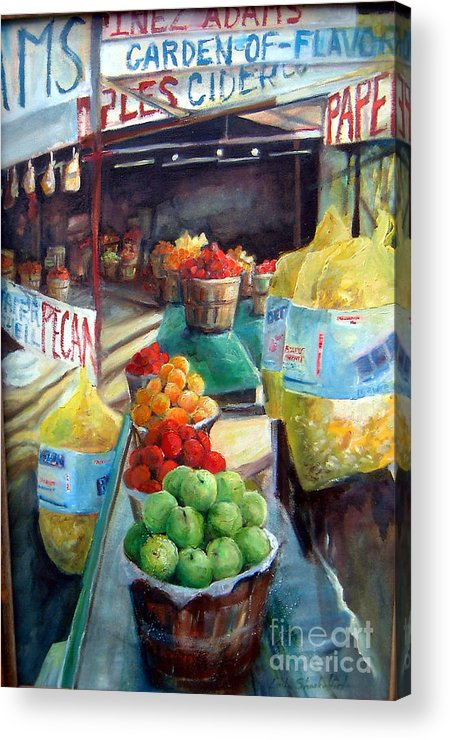 Fruit Acrylic Print featuring the painting Fruitstand Rhythms by Linda Shackelford