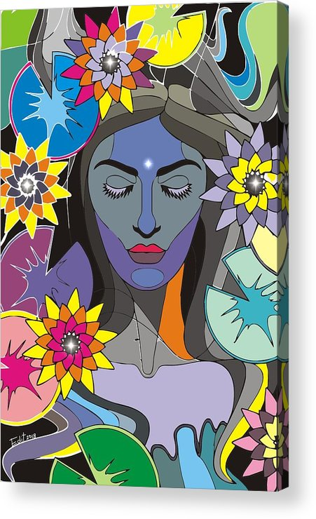 Gaia Acrylic Print featuring the digital art Gaia by Edit Sullivan