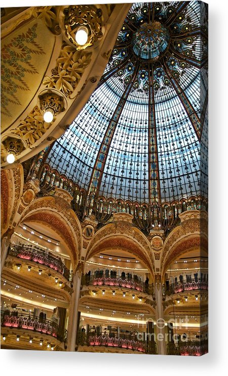 Paris Acrylic Print featuring the photograph Gallery Lafayette Ceiling IIi by Louise Fahy