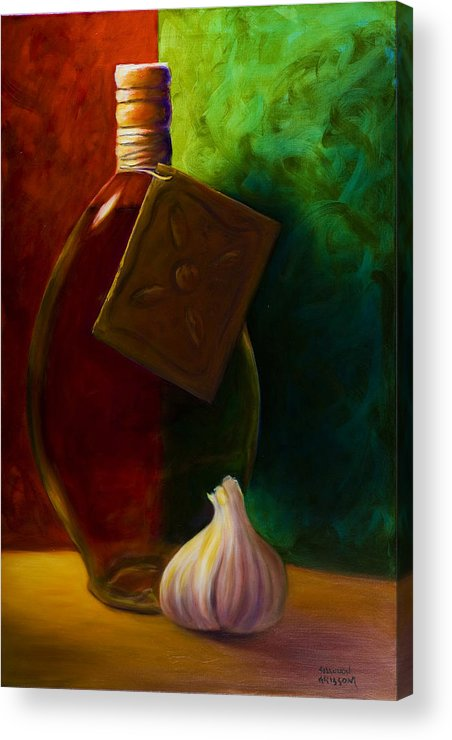 Shannon Grissom Acrylic Print featuring the painting Garlic And Oil by Shannon Grissom