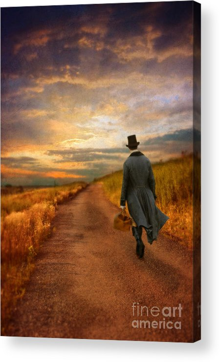 Young Acrylic Print featuring the photograph Gentleman Walking On Rural Road by Jill Battaglia