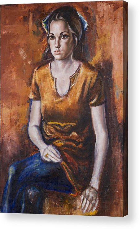 Portrait Acrylic Print featuring the painting Girl In Orange by Victoria Shea