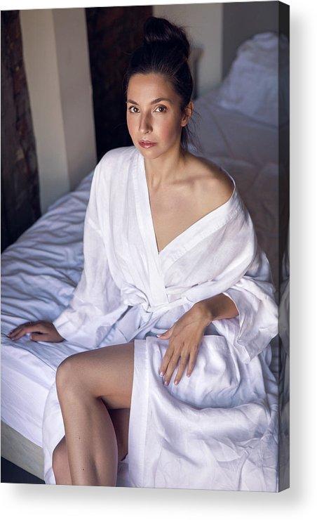 Bathrobe Acrylic Print featuring the photograph girl in the Bathrobe lying by Elena Saulich