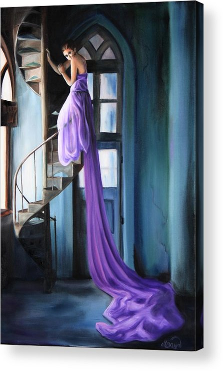 Girl Acrylic Print featuring the painting Girl On Staircase by Maryn Crawford