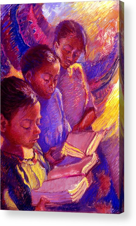 Girls Acrylic Print featuring the painting Girls Reading by Ellen Dreibelbis