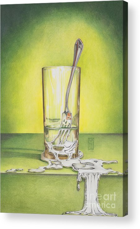 Bizarre Acrylic Print featuring the painting Glass With Melting Fork by Melissa A Benson