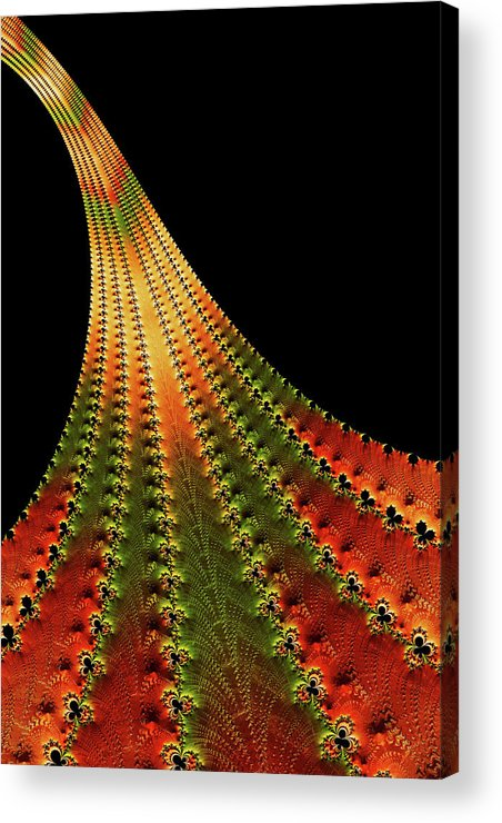 Glowing Leaf Of Autumn Abstract Acrylic Print featuring the digital art Glowing Leaf Of Autumn Abstract by Georgiana Romanovna