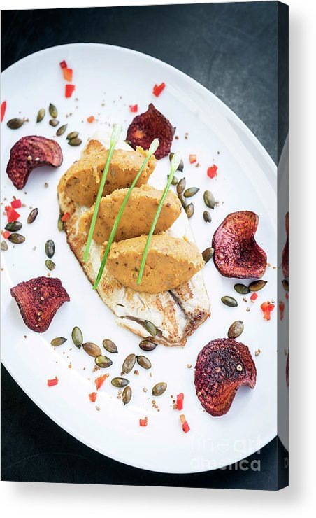 Artistic Acrylic Print featuring the photograph Gourmet Fish Fillet With Chickpea Curry Puree Meal by Jacek Malipan