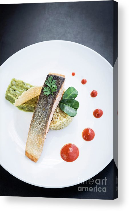 Cuisine Acrylic Print featuring the photograph Gourmet Salmon Fish Fillet With Rice And Guacamole Meal by Jacek Malipan