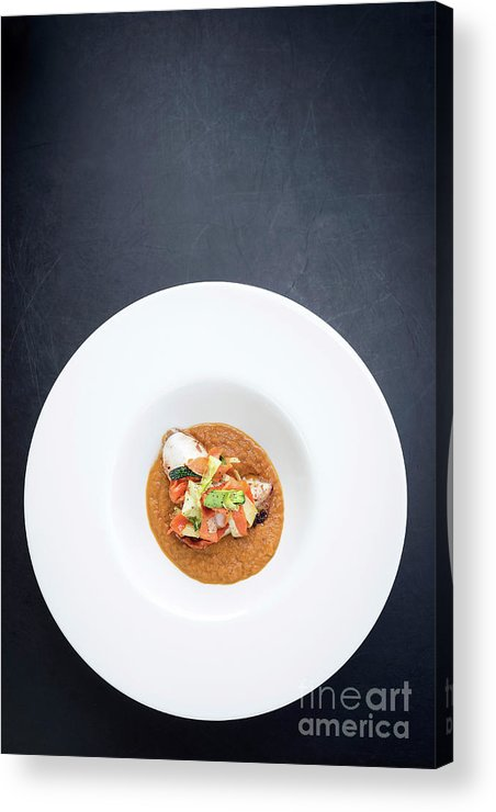 Artistic Acrylic Print featuring the photograph Gourmet Stuffed Squid With Vegetables In Pumpkin Curry Puree by Jacek Malipan