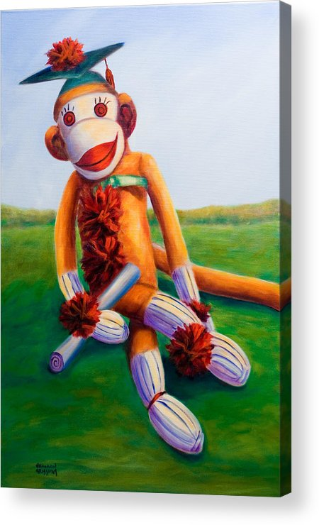 Graduation Acrylic Print featuring the painting Graduate Made Of Sockies by Shannon Grissom
