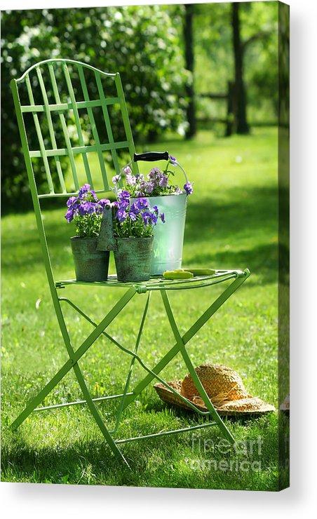 Afternoon Acrylic Print featuring the digital art Green Garden Chair by Sandra Cunningham